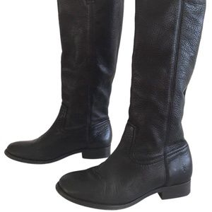 Frye Cindy Slouch Black Leather Riding Boots